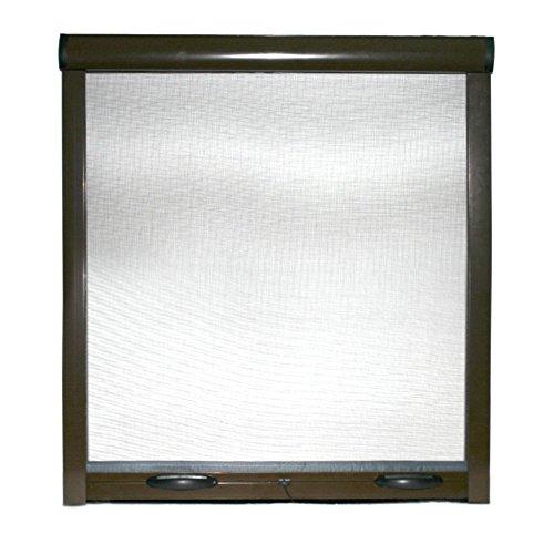 Zanzariera a rullo finestre porte struttura alluminio casa bianco marrone bronzo (60x150cm., Marrone)