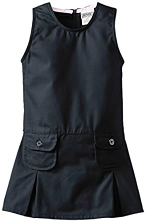 Genuine Little Girls'  Jumper with Two Faux Coin Pockets and Pleats, Navy, 6X
