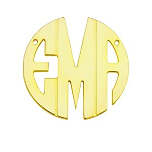 Mono108Ly Personalized Yellow Gold Plated Sterling Silver 1.5