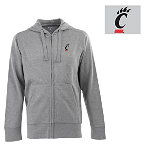Cincinnati Bearcats NCAA Full Zip Hood Mens Sweatshirt (Heather Grey) by Antigua
