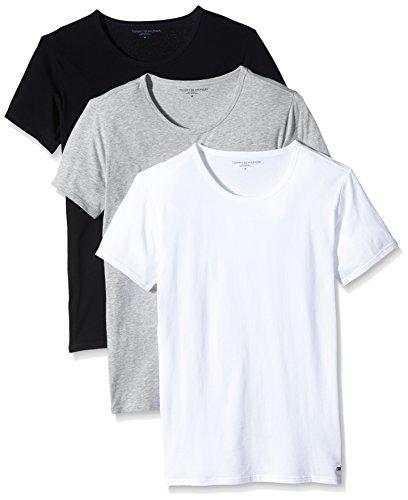 tommy-hilfiger-herren-t-shirt-einfarbig-gr-m-multicolore-black-grey-heather-bc05-white