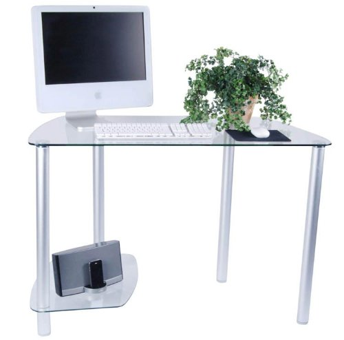 Buy Low Price Comfortable Clear Glass Corner Computer Desk (Clear and Silver) (45″W x 29.75″H x 21.5″D) (B004CX3FVC)