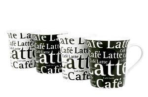 Konitz Café Latte Writing 12-Ounce Cups, Set of 4, Black,White