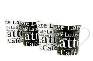 Konitz Café Latte Writing Cups, 12-Ounce, Black/White, Set of 4