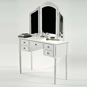 Coiffeuse PRETORIA II avec 3 miroirs (Crème)