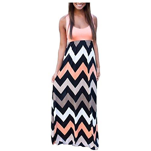 Aifer Womens Striped Zig Zag Chevron Print Sleeveless Tank Top Beach Long Maxi Dress
