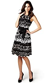 Per Una Cotton Rich Abstract Print Fit & Flare Dress with Belt