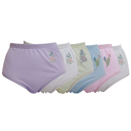 Womens/Ladies Embroidered Underwear Full Briefs (Pack of 6)