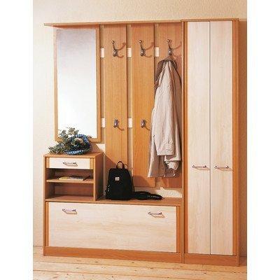 Germania 0113-4 Beistellschrank, Garderobenpaneel mit Spiegel und Schuhschrank für 10 Paar Schuhe, wengefarben/weiß
