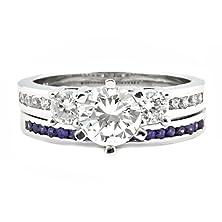 buy Lakoda At: 1.58Ct Iof Cz And Simulated Amethyst 2 Pc Wedding Ring Set Silver, 3069-3150A Sz 10.5