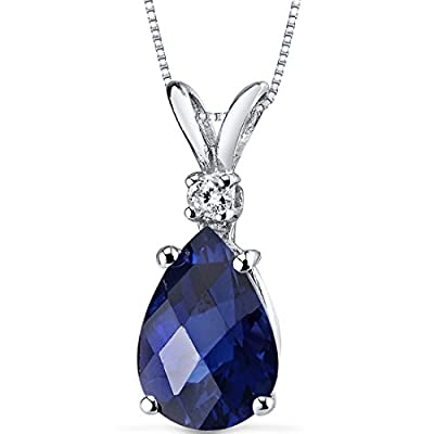 Revoni 14ct White Gold Pear Shape Gemstone Diamond Pendant Necklace
