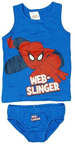 Marvel SPIDERMAN Jungen Unterwäsche Set, Hemd und Slip (98/104, blau)