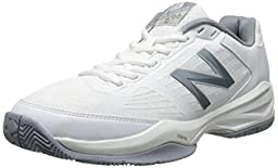 New Balance Women\'s WC896 Lightweight Tennis Shoe, White/Silver, 9 B US