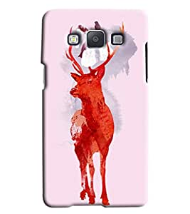 Blue Throat Red Hot Deer Printed Designer Back Cover For Samsung Galaxy E5