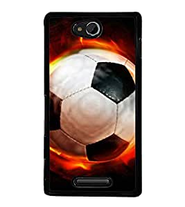 printtech Flaming Football Back Case Cover for Sony Xperia C , Sony Xperia C HSPA+ C2305