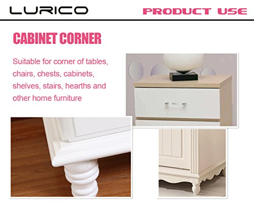 Lurico Table Corner Guards 4 Piece Set - Cushiony Table Furniture Childproofing Corner Cushion Protectors Baby Safety Extra Dense Non Toxic Edge & Corner Guard Bumpers (Brown)