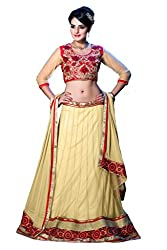 Dev Creation Embroidered georgette Lehenga in White