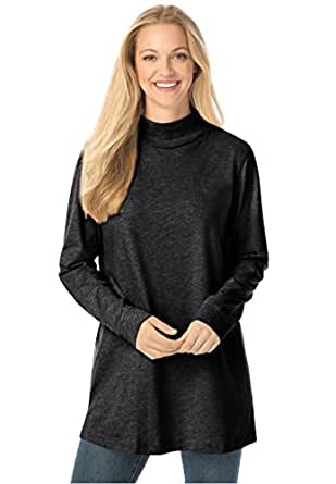 Women 39 s plus size top perfect mock turtleneck tunic at for Ladies mock turtleneck shirts