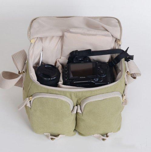 Cosmos ® Khaki Green Shoulder Canvas Outdoor Camera Bag 26