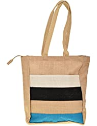 Saran Jute Bags Women's Multi Color Jute Handbag (SJB_17)