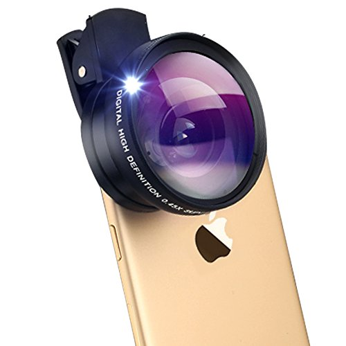 NUTK-2-in-1-Professional-HD-Cellphone-Camera-Lens-Kit-with-045X-Super-Wide-Angle-Lens-125X-Macro-Lens-Clip-On-Cell-Phone-Lens-for-iPhone-6s-6-Plus-5s-Samsung-Galaxy-Most-SmartphonesBlack