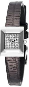 Gucci Women's YA128509 G-Frame Square Black Lizard Strap Diamond Dial Watch