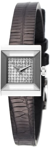 Gucci Women's YA128509 G-Frame Square Black Lizard Strap Diamond Dial Watch