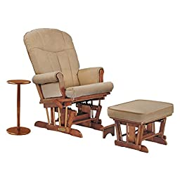 Shermag Glider Rocker and Ottoman with Side Table, Chablis/Honey