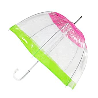 totes ISOTONER Unisex Classic Clear Dome Bubble Umbrella, Pink with Lime