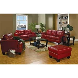 Coaster Samuel Red Sofa Loveseat Chair Leather Living Room Kitch