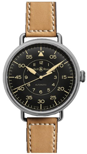 Bell & Ross  Watches free shipping sale price: Bell & Ross Vintage Automatic Black Dial Tan Leather Mens Watch BRWW192-HER-SCA