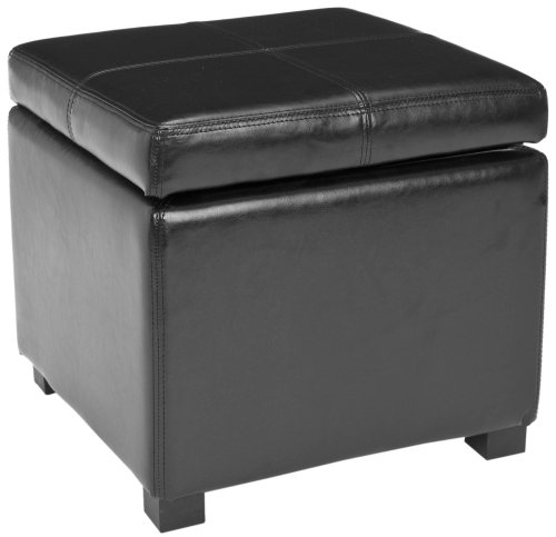 Safavieh Hudson Collection Williamsburg Black Leather Square Storage Ottoman