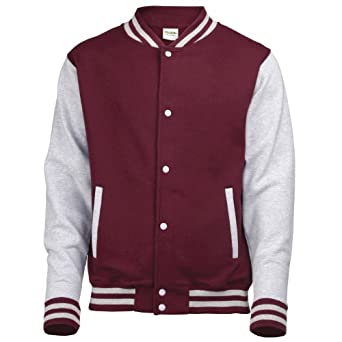 AWDis Hoods Big Boys' Varsity Letterman Jacket Burgundy/ Heather Grey 7 to 8 Years