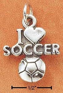 .925 Sterling Silver I LOVE SOCCER charm or pendant