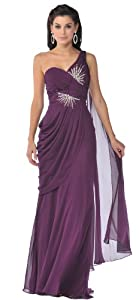 Meier Women's One Shoulder Chiffon Gown 1992 (10, Eggplant)