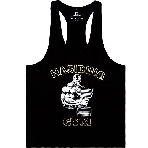 HASIDING Stringer Camicia del Muscolo Tank Top Sportivo Maglietta Bodybuilding Fitness Canotta Uomo Nero XX-Large
