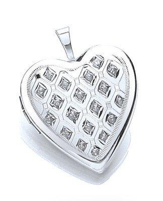 Beautiful Sterling Silver Platinum Plated Diamond Set Heart Locket 25 x 20mm.