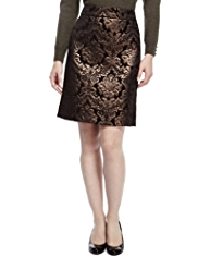 M&S Collection Bronze Jacquard A-Line Mini Skirt