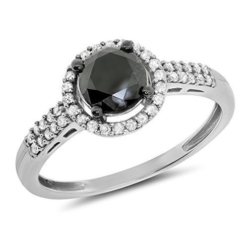 1.01 Ctw 10K Gold Round Black White Diamond Ladies Bridal Halo Engagement Ring Solitaire 4/5 Ct Center - White-Gold, Size 6