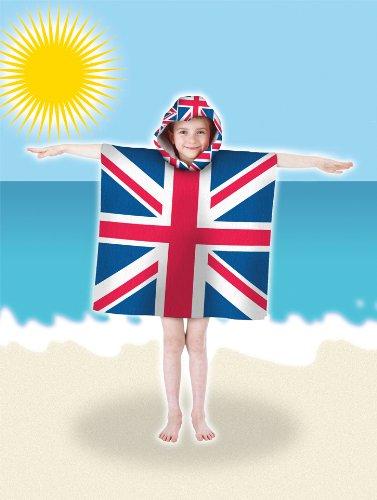 Country Club-R Kids Union Jack da spiaggia in microfibra, con con & Accappatoio Poncho Pal Cappuccio