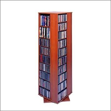 Leslie Dame CD-1040 High Capacity Spinning Multimedia Storage Tower, Oak