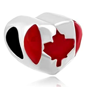 pugster patriotic canada flag charm bead fits