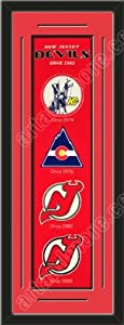 Heritage Banner Of New Jersey Devils With Team Color Double Matting-Framed Awesome... by Art and More, Davenport, IA