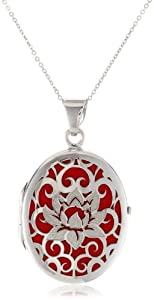 Sterling Silver Italian Red Oval Locket with Lotus Flower Design Pendant Necklace, 18