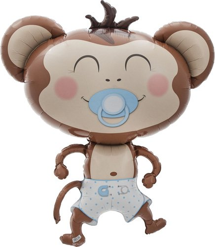 Baby Boy Monkey Helium Foil Balloon - 41 inch