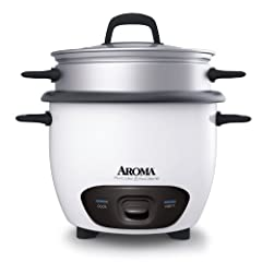 Aroma ARC-743-1NG 3-Cup (Uncooked)  6-Cup (Cooked) Rice Cooker and Food Steamer White