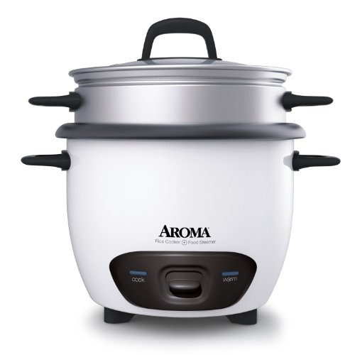 Aroma 14-Cup (Cooked) Pot Style Rice Cooker and Food Steamer, White