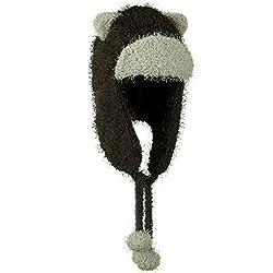 CHARCOAL Soft Fleece Trapper Bomber Winter Hat w/ Bear Ears