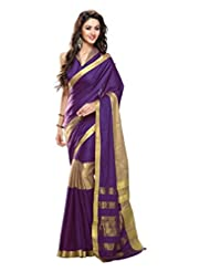 Roop Kashish Cotton Saree With Zari Border Saree(Miraya_Purple And Gold)