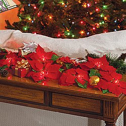 Lighted Flocked Poinsettia Battery Operated Christmas Holiday Decor Garland
